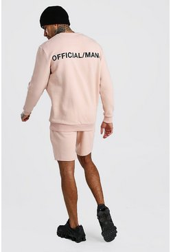 Dusky pink Loose MAN Official Print Sweater Tracksuit