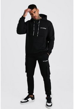 Black MAN Official Cargo Hooded Tracksuit With Back Print
