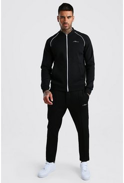 Black MAN Signature Scuba Bomber Tracksuit With Piping