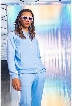 Powder blue MAN Smart Scuba Bomber Tracksuit With Piping