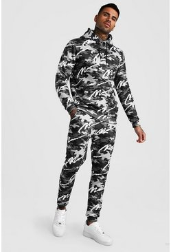 Dark grey All Over MAN Printed Camo Hooded Tracksuit