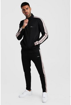 Black MAN Signature Poly Tracksuit With Tape
