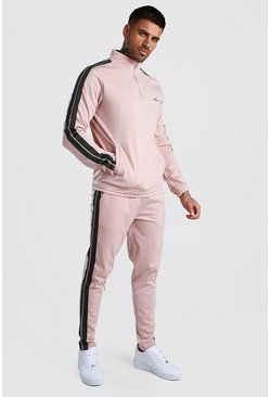Dusky pink MAN Signature Zip Through Poly Tape Tracksuit