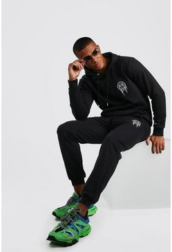 Black Official MAN Drip Face Hooded Tracksuit With Print