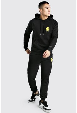 Neon-yellow Official MAN Drip Face Hooded Tracksuit