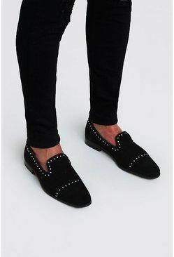 Black Stud Immi Suede Loafer