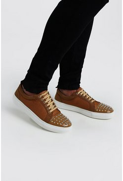 Tan Side Detail Lace Up Sneakers