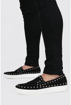 Black Studded Edge Slip On Sneakers