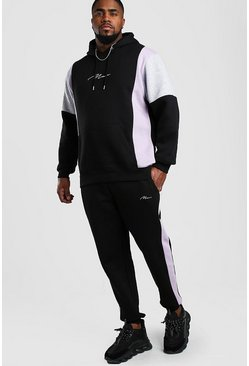 Black Big And Tall Colour Block Hooded Tracksuit