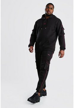 Black Big And Tall MAN Dash Cargo Tracksuit