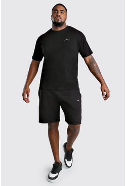 Black Big And Tall MAN T-Shirt And Short Set