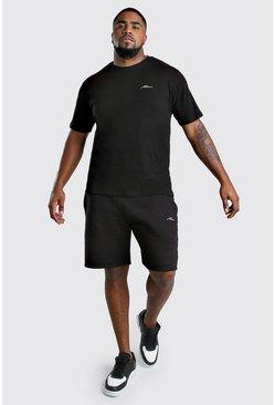 Black Big And Tall MAN T-Shirt And Short Set