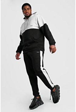 Black Big And Tall MAN Colour Block Tracksuit