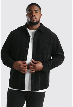 Black Big And Tall Cord Button Through Shacket