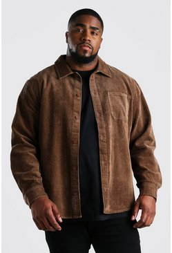 Brown Big And Tall Cord Button Through Shacket