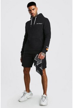 Black Utility Hooded Short Tracksuit With Bandana