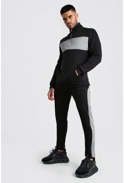 Black Colour Block Half Zip Tracksuit with Piping
