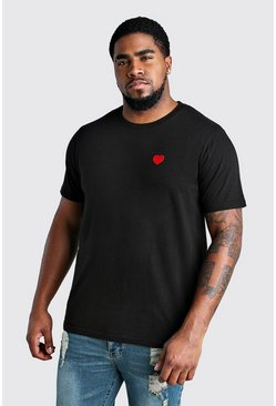 T-shirt cœur Saint-Valentin Big And Tall, Noir