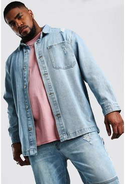 Pale wash Plus Size Longline Denim Overshirt