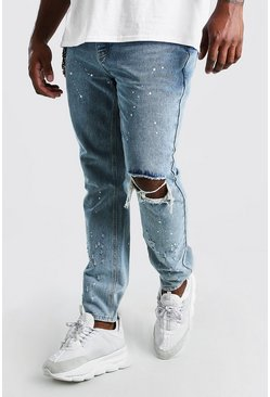 Pale wash Big And Tall Skinny Fit Busted Knee Jean