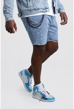 Pale wash Big And Tall Slim Fit Denim Paint Splat Shorts