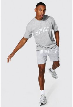 Grey marl Official Man Print T-shirt And Short Set