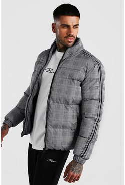 Grey Check Puffer With Side Tape