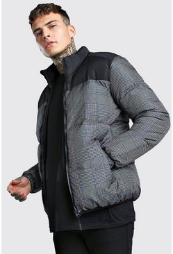 Grey Check Printed Puffer With Black Panel