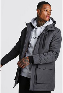 Charcoal Hooded Parka With Rubber Coated Zips