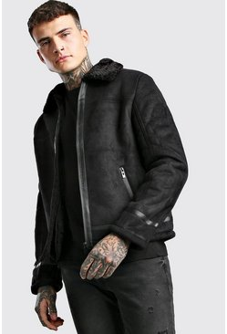 Black Faux Suede Aviator Jacket With Faux Fur Collar