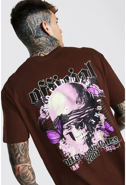 Chocolate Loose Skull Back Print T-shirt