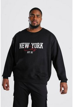"Big And Tall Pullover mit ""New York""-Print, Schwarz"