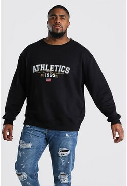 "Big And Tall Sweatshirt mit ""Athletics""-Print, Schwarz"