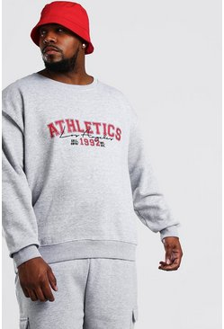 "Big And Tall Sweatshirt mit ""Athletics""-Print, Grau meliert"