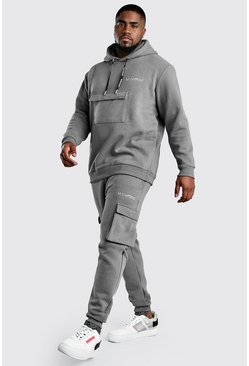 Slate Big And Tall MAN Offical Cargo Tracksuit
