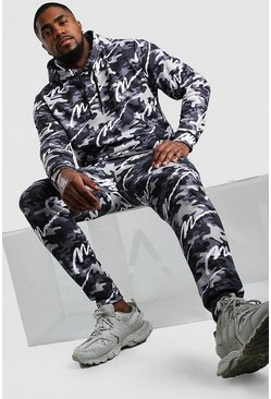 Dark grey Big And Tall All Over MAN Camo Tracksuit