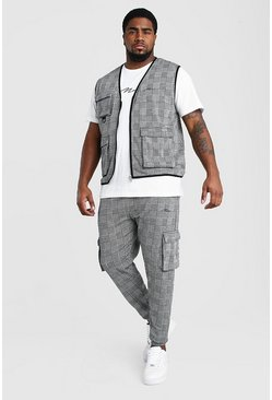 Grey Big And Tall MAN Vest And Jogger Set