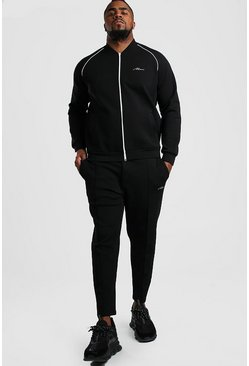 Black Big And Tall MAN Signature Bomber Tracksuit