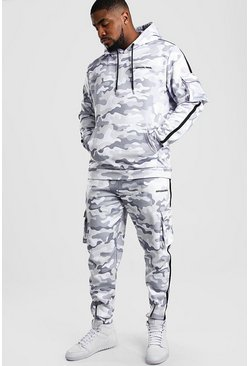 Light grey Big And Tall Offical MAN Camo Tracksuit