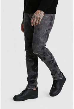 Washed black Bleach Washed Skinny Fit Jeans