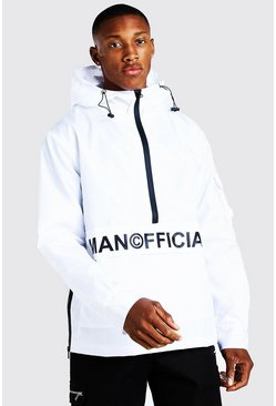 White MAN Official Front Pocket Half Zip Cagoule