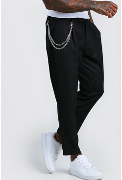 Black Tapered Crop Pants With Pleat & Chain