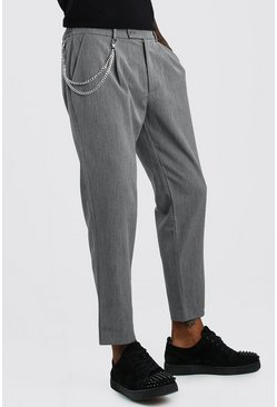 Grey Tapered Crop Pants With Pleat & Chain