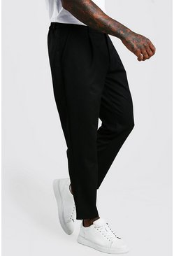 Black Tapered Casual Crop Pants With Pleat
