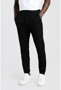 Black Slim Casual Cuffed Pants