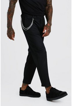 Black Slim Cropped Trouser With Chain