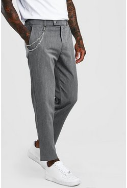 Grey Slim Cropped Pants With Chain