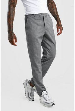 Grey Slim Casual Cropped Pants