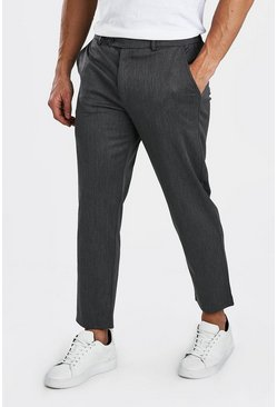 Charcoal Slim Casual Cropped Pants