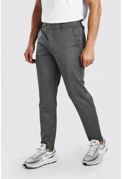 Grey Slim Casual Pants With Elasticated Waistband